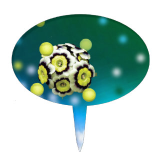 Flower and tennis balls flying on air. cake topper