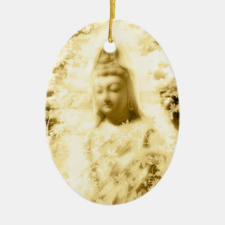 Flower and the Merciful Goddess 菩 薩 with Ise shrin Ceramic Ornament