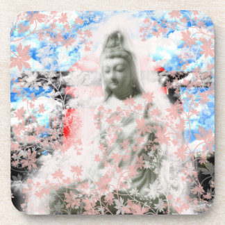 Flower and the Merciful Goddess 菩 薩 with Ise shrin Drink Coaster