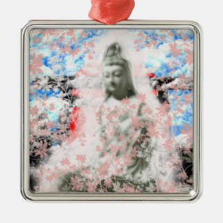 Flower and the Merciful Goddess 菩 薩 with Ise shrin Metal Ornament