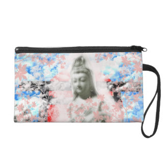 Flower and the Merciful Goddess 菩 薩 with Ise Wristlet Purse