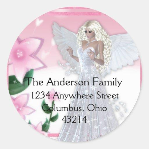 Flower Angel Design Fantasy Return Address Labels Classic Round Sticker