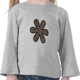 Flower, Animal Print, Spotted Leopard - Brown Tshirt
