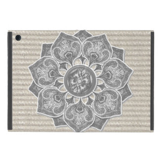 Flower Applique with Digital Faux Fabric Case For iPad Mini