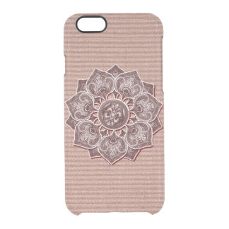 Flower Applique with Digital Faux Fabric Clear iPhone 6/6S Case