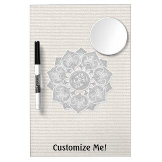 Flower Applique with Jacquard Any Color Dry Erase Board With Mirror