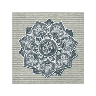Flower Applique with Jacquard Material ANY COLOR Canvas Print