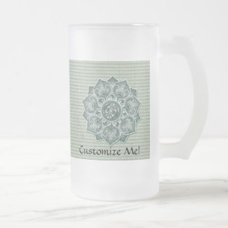 Flower Applique with Jacquard Material ANY COLOR Frosted Glass Beer Mug