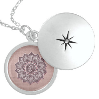 Flower Applique with Jacquard Material ANY COLOR Locket Necklace