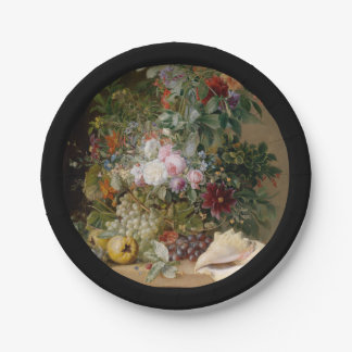 Flower Arrangement and Seashell Paper Plate