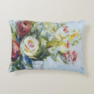 Flower arrangement bouquet impressionist painting accent pillow