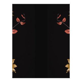 Flower arrangement with warm dark tones on black flyer