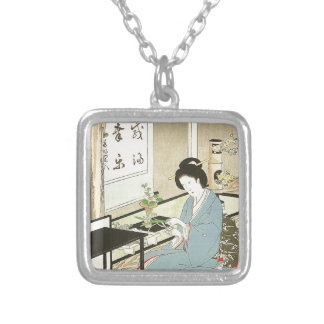 Flower Arranging and Tea Ceremony by Toyohara Silver Plated Necklace
