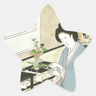 Flower Arranging and Tea Ceremony by Toyohara Star Sticker