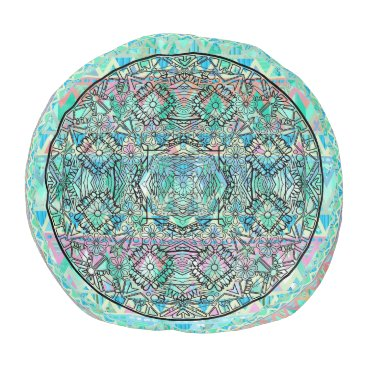 Aztec Themed Flower Art Aztec Muted Pastel Mint Mandala Zigzag Pouf
