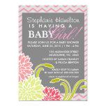 """Flower baby girl shower invites 5"""" x 7"""" invitation card"""