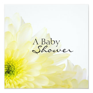 """Flower-Baby Shower 5.25"""" Square Invitation Card"""