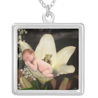 Flower Baby Square Pendant Necklace