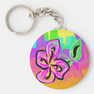 Flower Basic Round Button Keychain