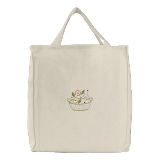 Flower Basket Embroidered Canvas Carryall Embroidered Tote Bag