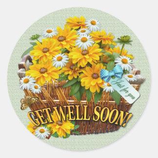 Flower Basket  ~ Round Sticker