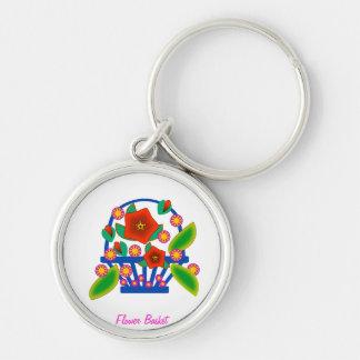 Flower Basket Silver-Colored Round Keychain
