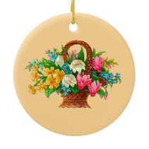 FLOWER BASKET VINTAGE DESIGN CERAMIC ORNAMENT