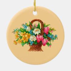 Flower Basket Vintage Design Ceramic Ornament at Zazzle