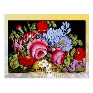 Flower basket with red roses and berries postcards