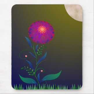 Flower Basking in the Moonlight Glow Mouse Pad