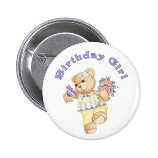 Flower Bear Birthday Girl Pinback Button