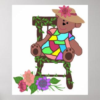 Flower bear in chair poster
