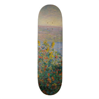 Flower Beds at Vetheuil by Claude Monet Skateboard Deck