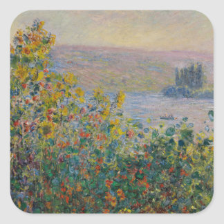 Flower Beds at Vetheuil by Claude Monet Square Stickers