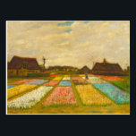 """Flower Beds in Holland by van Gogh Postcard<br><div class=""""desc"""">Flower Beds in Holland,  also known as Bud Fields,  was Vincent van Gogh&#39;s first garden painting.  Painted in 1883. The painting features an overview of geometrically laid out plots of white,  pink,  blue and yellow hyacinths.</div>"""
