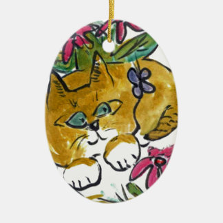 Flower Beds Make Great Hiding Places Ceramic Ornament