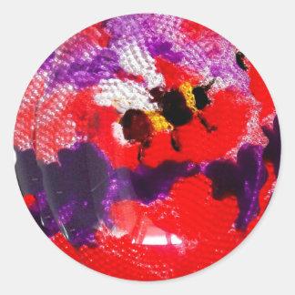 Flower Bee Floral Art Classic Round Sticker