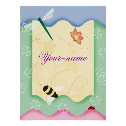 Flower Bee Personalized Poster