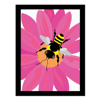 Flower & Bee Window Postcard