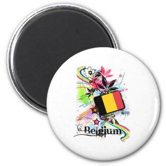 Flower Belgium 2 Inch Round Magnet