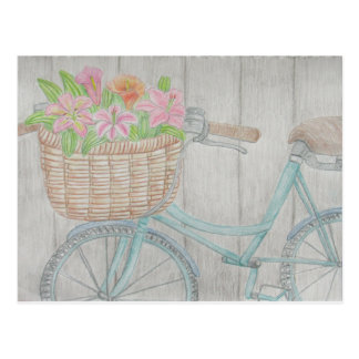 Flower bike postcard