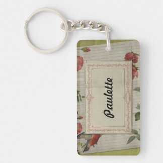 Flower Bird Notebook Paper Vintage Label Keychain