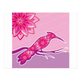 Flower Bird vector design Postcard