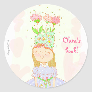 flower birthday girl bookplate classic round sticker