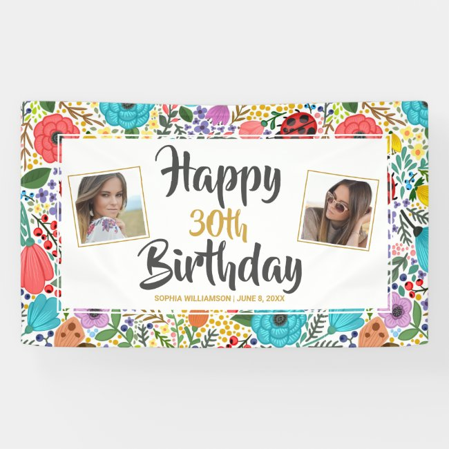 Flower Birthday Party Any Age Name Custom Photos Banner