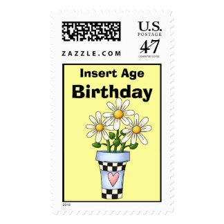 Flower Birthday Postage Stamps