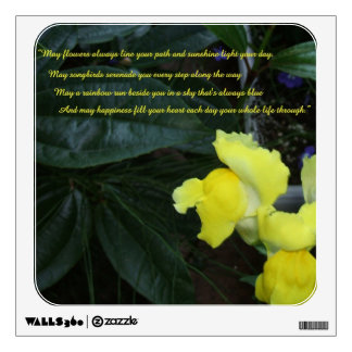 Flower Blessings Quotation Decal