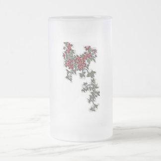 FLOWER BLOOMS FROSTED GLASS BEER MUG