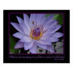 Flower Blooms Zen Proverb Purple Water Lily & Bee Poster