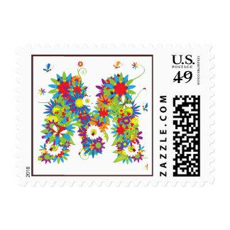 Flower Blossom Monogram M Postage